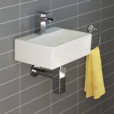 IBathUK Modern Square Ceramic Small Cloakroom Basin Wall Hung - Basin bathroom sinks