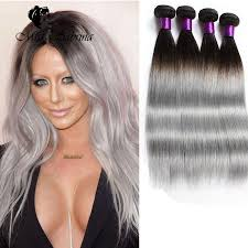 black grey hair hot dark roots grey hair weave ombre 1b grey brazilian straight