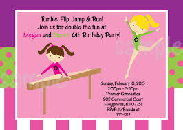 Invitation Cards To Print Gymnastics Birthday Invitation Printable Or Printed Pink
