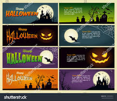 Happy Halloween Banner happy halloween banner set vector design stock vector 145684244