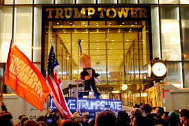 hillary supporters hang trump in effigy outside trump tower