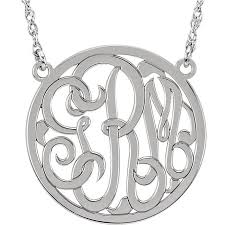 script monogram necklace medium 25 mm 3 letter script monogram necklace
