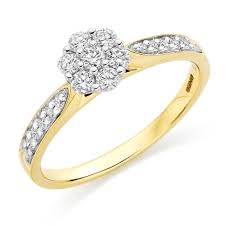 gold diamond rings 18ct gold diamond cluster ring 0000192 beaverbrooks the jewellers