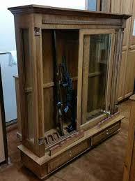 Glass Gun Cabinet Amish Custom Crafted Combo Low Profile 16 Gun Cabinet Amish