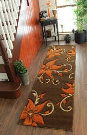 Beige Runner Rug Thick Floral Burnt Orange Brown Beige Soft Hallway