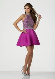 dress to party beaded larissa satin party dress featuring a high halter and open