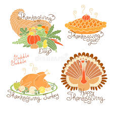 set of color drawings to thanksgiving day autumn harvest