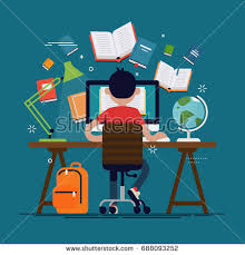 Learning Desk Student Learning Process Back View Kid Stock Vector 688093252
