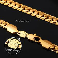 size 7 13 2015 new 18k plated classic gold men rings black u7 18k gold plated chain men summer jewelry 6mm unique snake chain