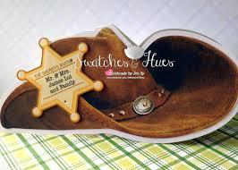 folded invitation swatches u0026 hues handmade with tlc cowboy hat invitation