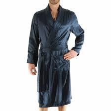 peignoir de chambre robe de chambre 100 soie pilus bleu nuit à motifs ton sur ton rue