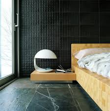 elegant minimalist bedroom with black floor and wall also unique