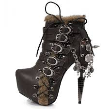 brown steampunk ankle boots with 6 inch heel by hades footwear