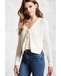 special forever21 lace up ribbed knit sweater
