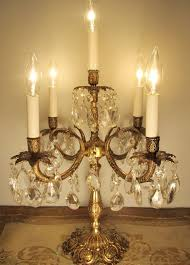 Candelabra Light Fixtures Vintage Candelabra Table Lamp Solid Brass U0026 Crystals 5