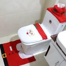 3pcs happy santa snowman toilet seat cover rug bathroom set