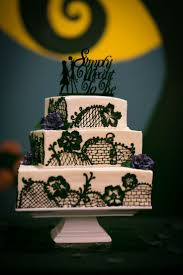 my wedding cake and nightmare before backdrop