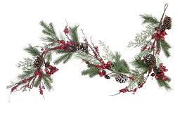 flocked and iced pine cone and berry artificial