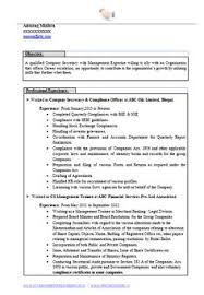 Example Secretary Resume Sample Template Of An Excellent Company Secretary Resume Sample