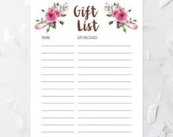 gift list floral gift list printable pink floral gift list baby shower