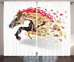 horse curtains 2 panels set abstract art wild animal home decor ebay