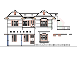 front view of drawing plan u2013 modern house