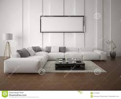 mock up poster spacious living room with a corner sofa stock
