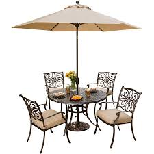 Patio Dining Set With Umbrella Traditions 5 Dining Set With Umbrella Traditions5pc Su