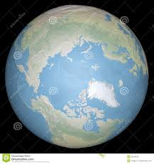 Arctic Map World Earth Globe Arctic North Pole Relief Map Stock