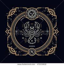 vintage thin line scorpio zodiac sign stock vector 472232632