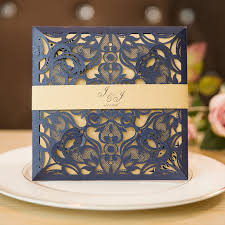navy blue wedding invitations unique laser cut navy blue wedding invitations with belly band
