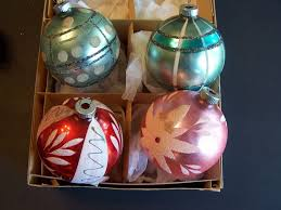 west germany 4 large shiny brite ornaments modern