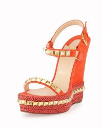 christian louboutin cataclou studded suede red sole wedge sandal