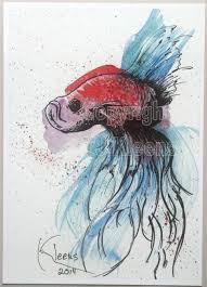 5x7 giclee print betta fish art drawing painting goldfish aquarium