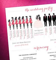 party silhouette modern day wedding program bridal party silhouettes digital