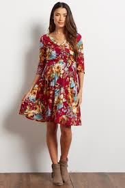 sleeve wrap dress burgundy floral print 3 4 sleeve maternity wrap dress