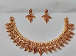 gold stone necklace images Ad stone necklace real gold imitation at rs 2400 piece jpg