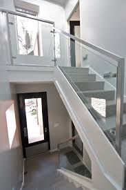 Glass Handrails For Stairs Glass Rails Contemporary Staircase Chicago By Iron U0026 Wire Llc