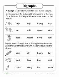consonant digraphs worksheets for first grade consonant digraphs