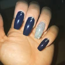 coffin nails with rhinestones and glitter powder full set with gel