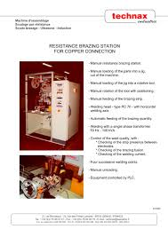 resistance brazing station for copper connection technax pdf