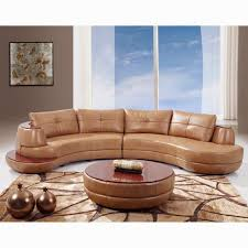 curved sectional sofas for small spaces furniture brown faux leather curved sectional sofa plus round for