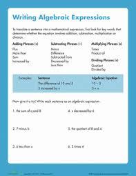 5th grade algebraic expressions worksheets writing algebraic expressions worksheet education