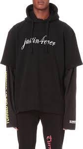 Selfridges Duvet Vetements Justin4ever Print Cotton Jersey Hoody In Black For Men