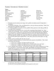 principles of mendelian genetics worksheet biol 110 laboratory