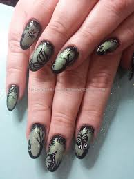 sage green gel polish with pigments and freehand nail art i u0027d