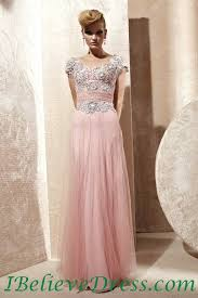 tulle lace cap sleeves long prom evening dress formal full length