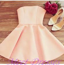 light pearl pink homecoming dresses with strapless satin elegant