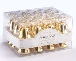 gold bells place card holders with place cards 24