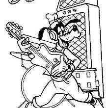 goofy goof playing guitar coloring disney coloring